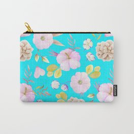 Artist hand painted pink lavender teal watercolor floral Carry-All Pouch