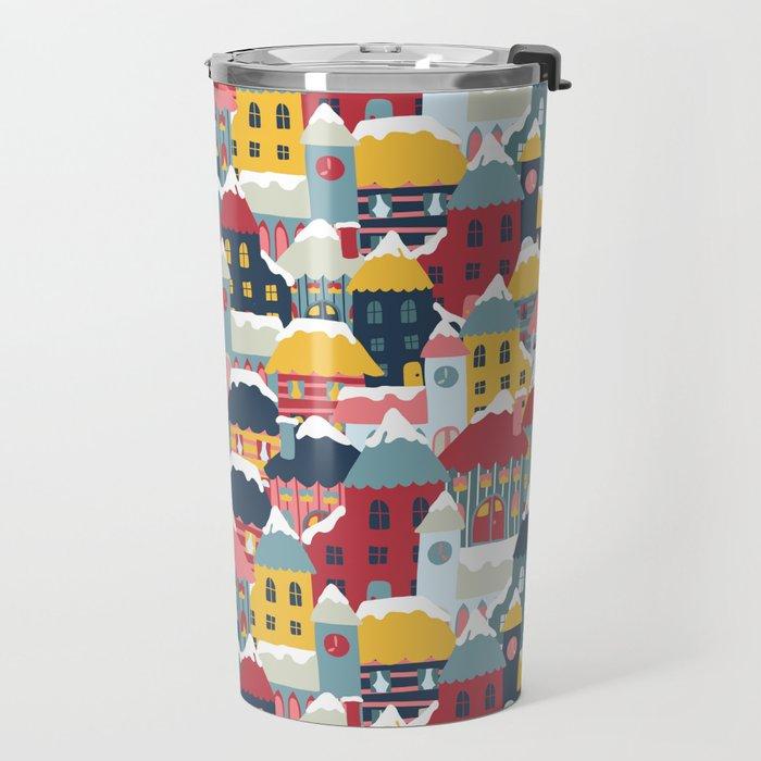 Christmas Winter Town Travel Mug