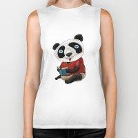 panda Biker Tanks featuring Panda by gunberk