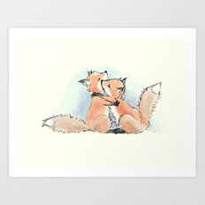 foxes in love Art Print