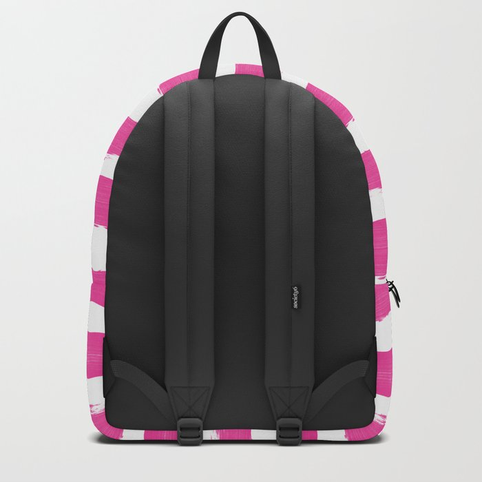Simple pink and white handrawn stripes - horizontal - for your summer on #Society6 Backpack