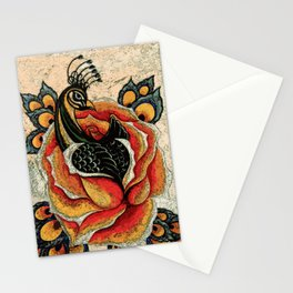 Orange Peacock Rose Remix Stationery Cards