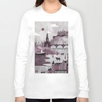travel poster Long Sleeve T-shirts featuring Edinburgh Travel Poster Illustration by ClaireIllustrations