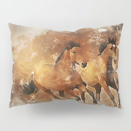 Horses Running Animal Pillow Sham