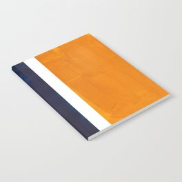 Navy Blue Yellow Ochre Abstract Minimalist Rothko Colorful Mid Century Color Block Pattern Notebook