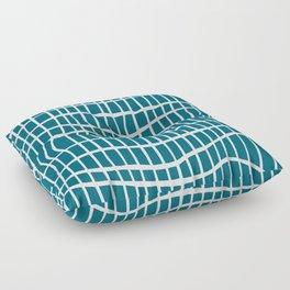 Net White on Blue Floor Pillow