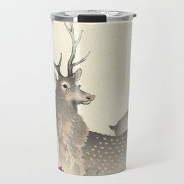 Deer by Ohara Koson Travel Mug