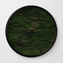 Dark green scratched wood Wall Clock