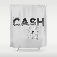 johnny cash Shower Curtains featuring In Johnny Cash We Trust. by Matt Leyen