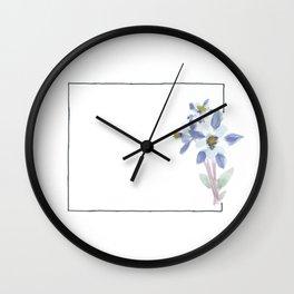 colorado // watercolor columbine state flower map Wall Clock