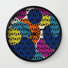 Ethnic style pattern wax, geometric abstract shapes colorful, large round purple, khaki, blue,orange Wall Clock