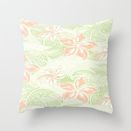 Coral Hibiscus Jungle Print Throw Pillow