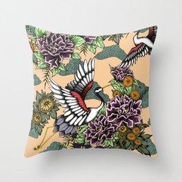 Cranes (Pink) Throw Pillow