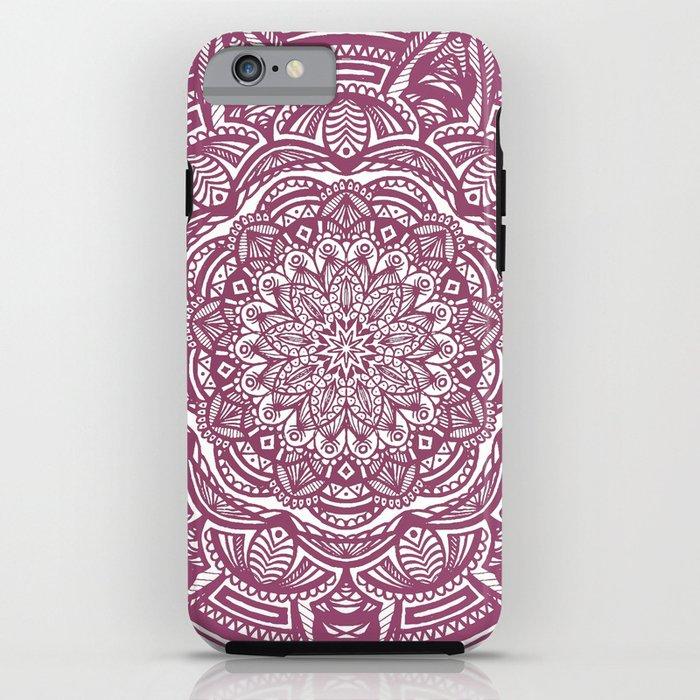Wine Maroon Ethnic Detailed Textured Mandala iPhone Case