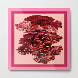 Cranberry-Pink Color Floral Brown Pattern Metal Print