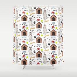 Siberian Husky Dog Half Drop Repeat Pattern Shower Curtain