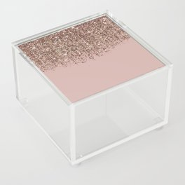 Blush Pink Rose Gold Bronze Cascading Glitter Acrylic Box
