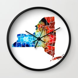 New York - Map By Sharon Cummings Wall Clock