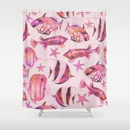 Soft pink underwater fisch scenery Shower Curtain