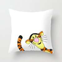 tigger Throw Pillows featuring Bounce by BlackBlizzard