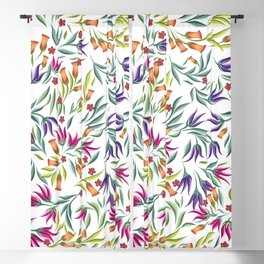Seamless pattern with different wild flowers Blackout Curtain