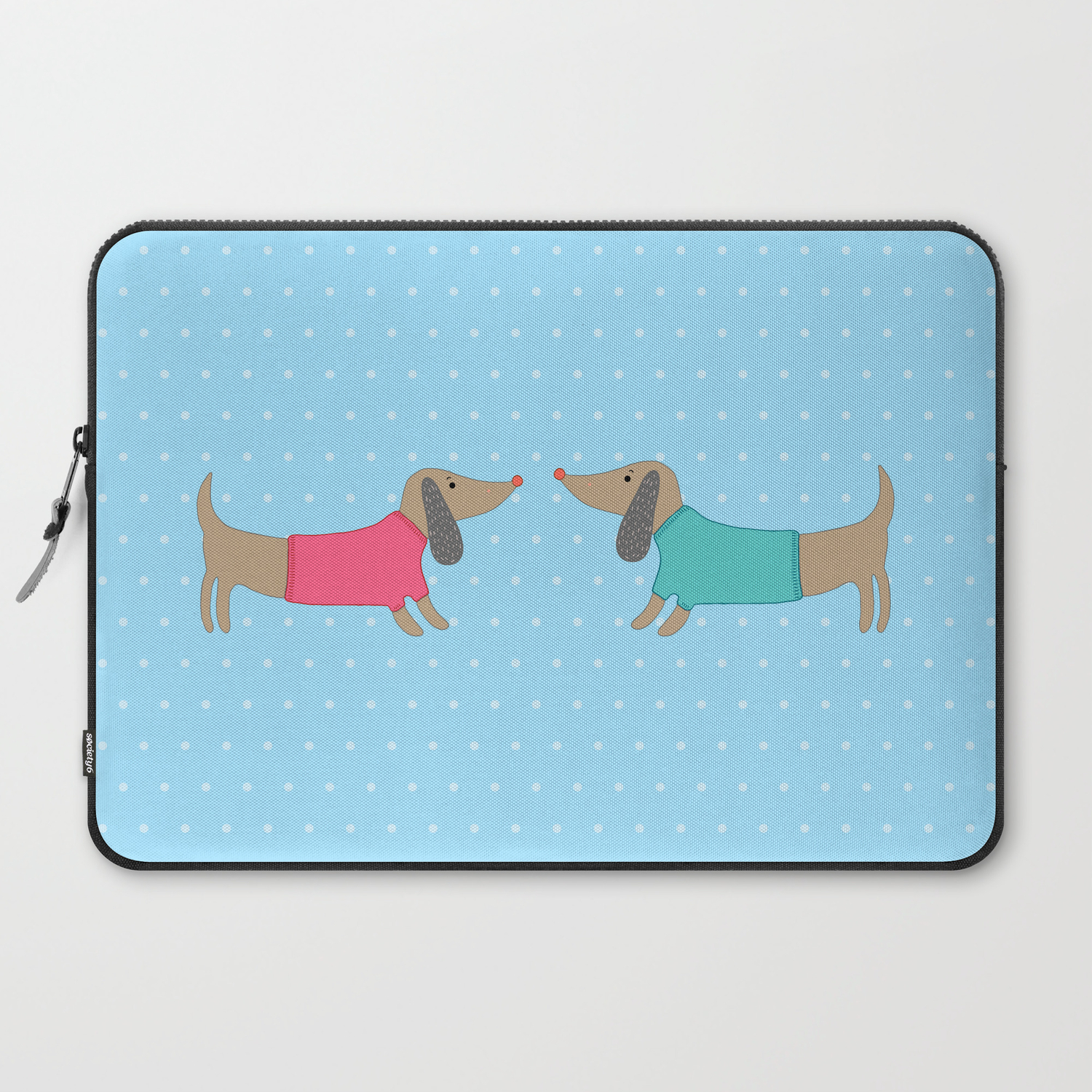 Cute Dogs In Love With Dots In Blue Background Laptop Sleeve By Bigmomentsdesign Society6