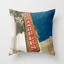 1931 Los Angeles Theatre Vintage Sign Throw Pillow
