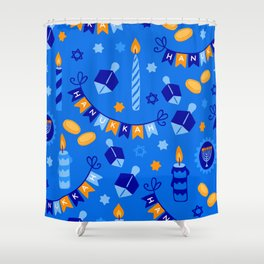 Happy Hanukkah Holiday Candles and Dreidels Pattern Shower Curtain