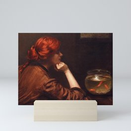Thinking About the Kiss, Redhead with Goldfish in an Idle Moment female portrait by Alexander White Mini Art Print