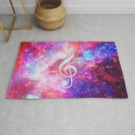 Galaxy Nebula Glitter Music Note Pink Space Rug