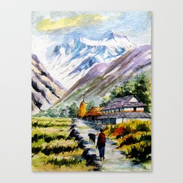 Long Walk By The Mountain Canvas Print