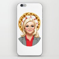 leslie knope iPhone & iPod Skins featuring Leslie Knope, Goddess of Girl Power & Waffles by Kirsten Sevig
