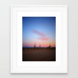 Tres Saguaros  & Full Moon Framed Art Print