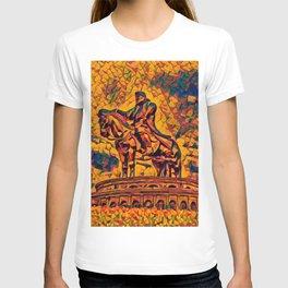 Mongolia Chinggis Khan Equestrian Statue Artistic Illustration Warrior Shapes Style T-shirt