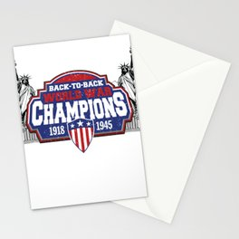 4th of July Patriotic Design for Fourth of July Back to Back World War Champs Stationery Cards