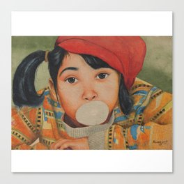 Naughty girl blowing and playing with Bubble Gum - in Watercolor Canvas Print