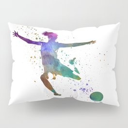 Woman soccer player 03 in watercolor Pillow Sham