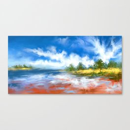Summer Lake landscape Canvas Print