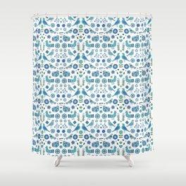 Scandi Folk Birds - blue & white Shower Curtain
