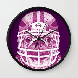 American Pug Football Purple Wall Clock