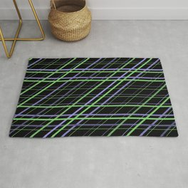 Minimalist Purple and Green Geometric Criss Cross Lines on Black Background Rug
