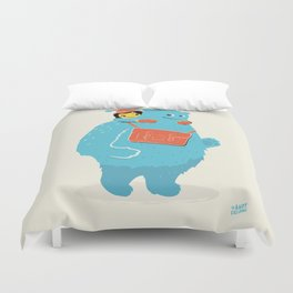 Blue-Monster Piggy-Ride Duvet Cover