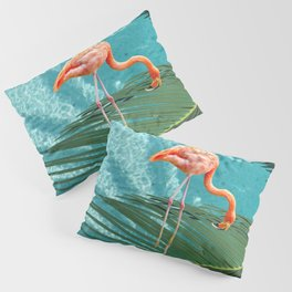 Abstract Flamingo and Palm leaf Pillow Sham