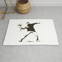Banksy - Man Throwing Flowers - Antifa vs Police Manifestation Design For Men, Women, Poster Rug
