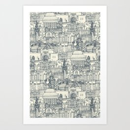 Edinburgh toile indigo pearl Art Print
