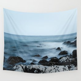 Rocky shore with misty water Wall Tapestry