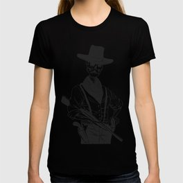 Sheriff with mustache and rifle T-shirt