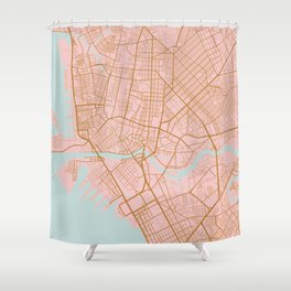 Pink and gold Manila map Shower Curtain