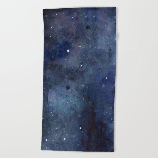 Night Sky Stars Galaxy | Watercolor Nebula Beach Towel