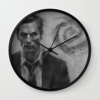 true detective Wall Clocks featuring true detective by Manu Cafferini